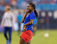 CHARLOTTE, NC - OCTOBER 3: Crystal Dunn #19 of the United States dances during warmups during a game between Korea Republic and USWNT at Bank of America Stadium on October 3, 2019 in Charlotte, North Carolina.