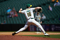 Baylor Bears relief pitcher Tyler Thomas (16) in action against the Missouri Tigers in game one of the 2020 Shriners Hospitals for Children College Classic at Minute Maid Park on February 28, 2020 in Houston, Texas. The Bears defeated the Tigers 4-2. (Brian Westerholt/Four Seam Images)