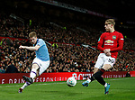 Kevin De Bruyne of Manchester City takes on Brandon Williams of Manchester United during the Carabao Cup match at Old Trafford, Manchester. Picture date: 7th January 2020. Picture credit should read: Darren Staples/Sportimage
