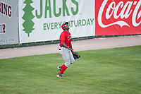 Orem Owlz left fielder Johan Sala (25) settles under a fly ball during a Pioneer League game against the Missoula Osprey at Ogren Park Allegiance Field on August 19, 2018 in Missoula, Montana. The Missoula Osprey defeated the Orem Owlz by a score of 8-0. (Zachary Lucy/Four Seam Images)