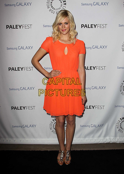 Georgia King.PaleyFest Icon Award 2013 Held At The Paley Center for Media, Beverly Hills, California, USA..February 27th, 2013.full length orange dress hand on hip cut out .CAP/ADM/KB.©Kevan Brooks/AdMedia/Capital Pictures.
