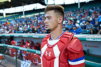 Will Banfield (11) of Brookwood High School in Lawrenceville, Georgia during the Under Armour All-American Game presented by Baseball Factory on July 29, 2017 at Wrigley Field in Chicago, Illinois.  (Jon Durr/Four Seam Images)