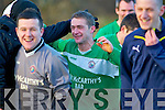 Sudden death penalty hero Dunnacha Ryan celebrates with his team mates after his penalty gave Castleisland victory their FAI Junior cup clash with Killybegs in Donegal on Sunday