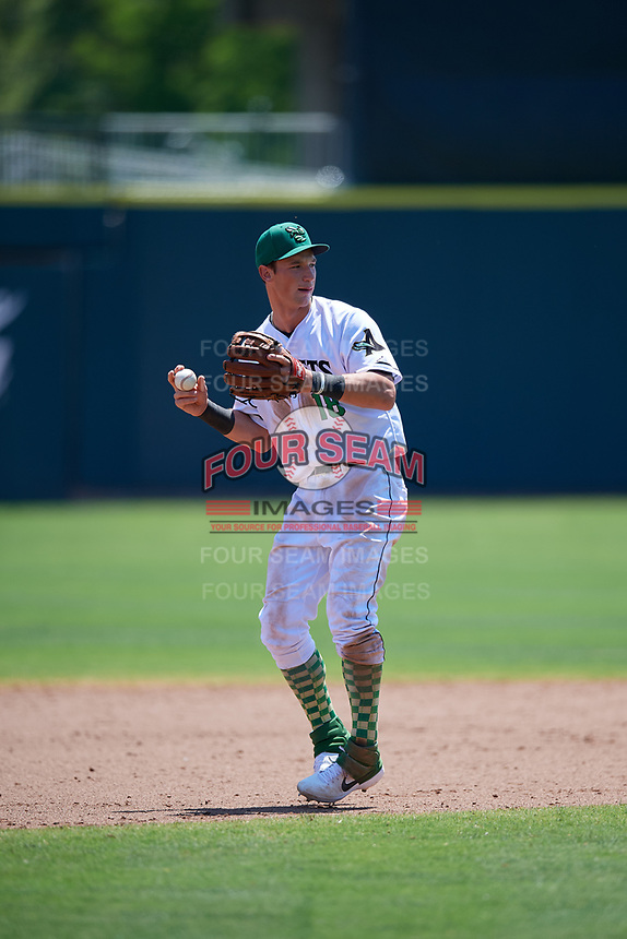 Augusta GreenJackets third baseman Jacob Gonzalez (18) throws to first base during a South Atlantic League game against the Lexington Legends on April 30, 2019 at SRP Park in Augusta, Georgia.  Augusta defeated Lexington 5-1.  (Mike Janes/Four Seam Images)