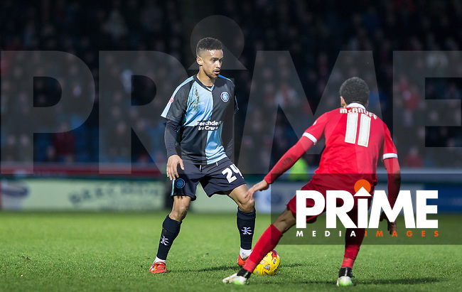 Paris Cowan-Hall of Wycombe Wanderers takes on Jobi McAnuff of Leyton Orient during the Sky Bet League 2 match between Wycombe Wanderers and Leyton Orient at Adams Park, High Wycombe, England on 23 January 2016. Photo by Andy Rowland / PRiME Media Images.