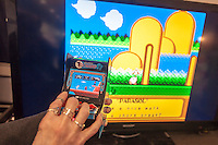 One of My Arcade's retro miniature arcade games is displayed at the 114th North American International Toy Fair in the Jacob Javits Convention center in New York on Sunday, February 19, 2017.  The four day trade show with over 1000 exhibitors connects buyers and sellers and draws tens of thousands of attendees.  The toy industry generates over $26 billion in the U.S. alone and Toy Fair is the largest toy trade show in the Western Hemisphere. (© Richard B. Levine)