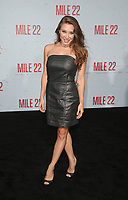 9 August 2018-  Westwood, California - Alexandra Vino. Premiere Of STX Films' &quot;Mile 22&quot; held at The Regency Village Theatre. <br /> CAP/MPIFS<br /> &copy;MPIFS/Capital Pictures