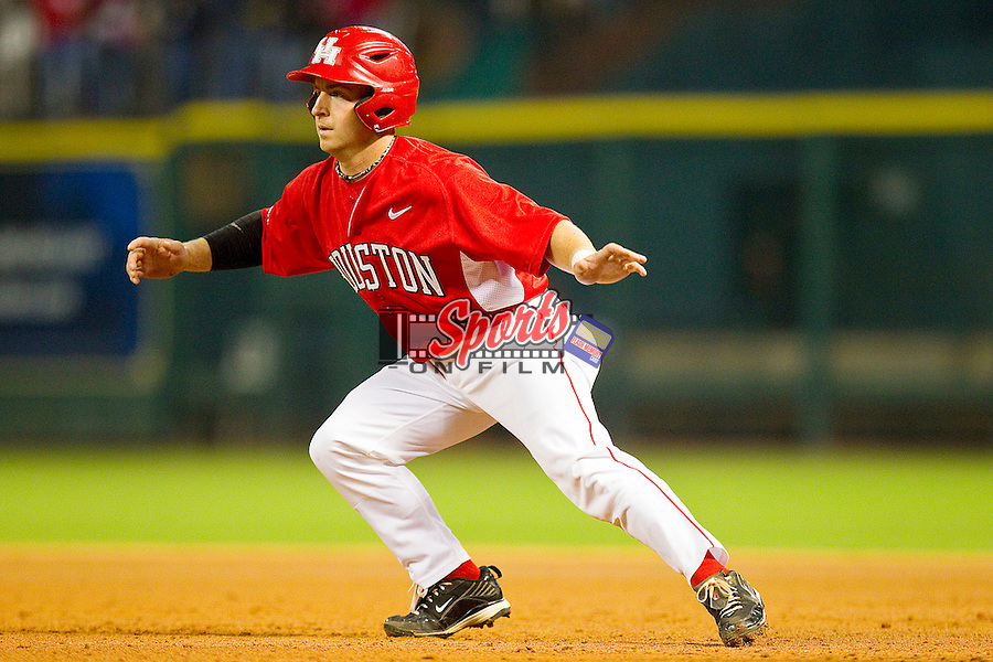 Ryan Still #2 of the Houston Cougars takes his lead off of first base against the Texas A&M Aggies at Minute Maid Park on March 6, 2011 in Houston, Texas.  Photo by Brian Westerholt / Four Seam Images