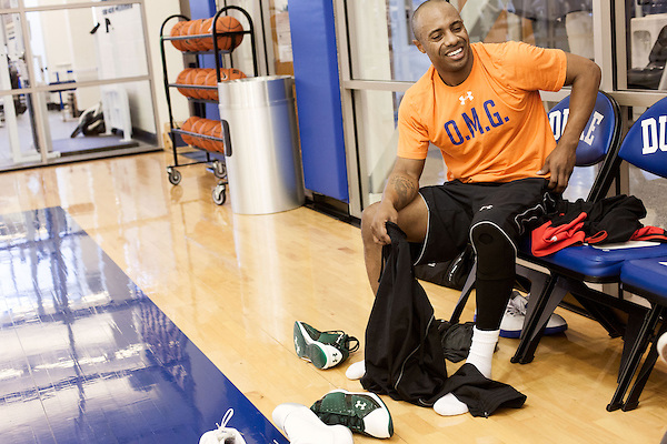 December 14, 2012. Durham, North Carolina..  Jay Williams cools down after playing pickup basketball on the Duke practice courts. Williams still lives in Durham and works out at the Duke facilities between work trips.. Jay Williams, a former point guard for the Chicago Bulls, is now a college basketball analyst for ESPN. Williams was a freshman all american at Duke University and helped lead the Blue Devils to a NCAA National Championship in 2001. . After being drafted in 2002 to the Chicago Bulls, he played one season in the NBA before his basketball career was ended by a serious motorcycle accident which nearly took his life.