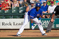 Round Rock Express outfielder Julio Borbon #20 leads off during the Pacific Coast League baseball game against the Fresno Grizzlies on May 19, 2012 at The Dell Diamond in Round Rock, Texas. The Grizzlies defeated the Express 10-4. (Andrew Woolley/Four Seam Images)