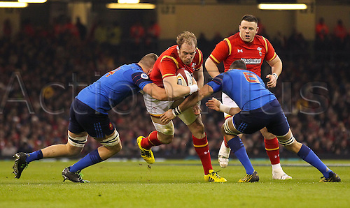 26.02.2016. Principality Stadium, Cardiff, Wales. RBS Six Nations Championships. Wales versus France. Wales Alun Wyn Jones gets tackled by France's Paul Jedrasiak and Damien Chouly