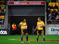 Ma'a Nonu and Conrad Smith talk during the Super Rugby match between the Hurricanes and Stormers at Westpac Stadium, Wellington, New Zealand on Friday, 2 April 2015. Photo: Dave Lintott / lintottphoto.co.nz