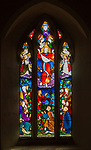 Stained glass window in church of Saint Margaret, Chilmark, Wiltshire, England, UK - Heaton, Butler and Bayne 1866 Ascension