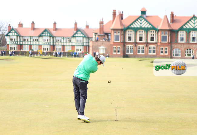 Cormac Sharvin (IRL) plays his 2nd shot on the 18th hole during Sunday's Round 3 of the 2015 Lytham Trophy held at Lytham &amp; St.Annes Golf Club. 3rd May 2015.<br /> Picture: Eoin Clarke www.golffile.ie