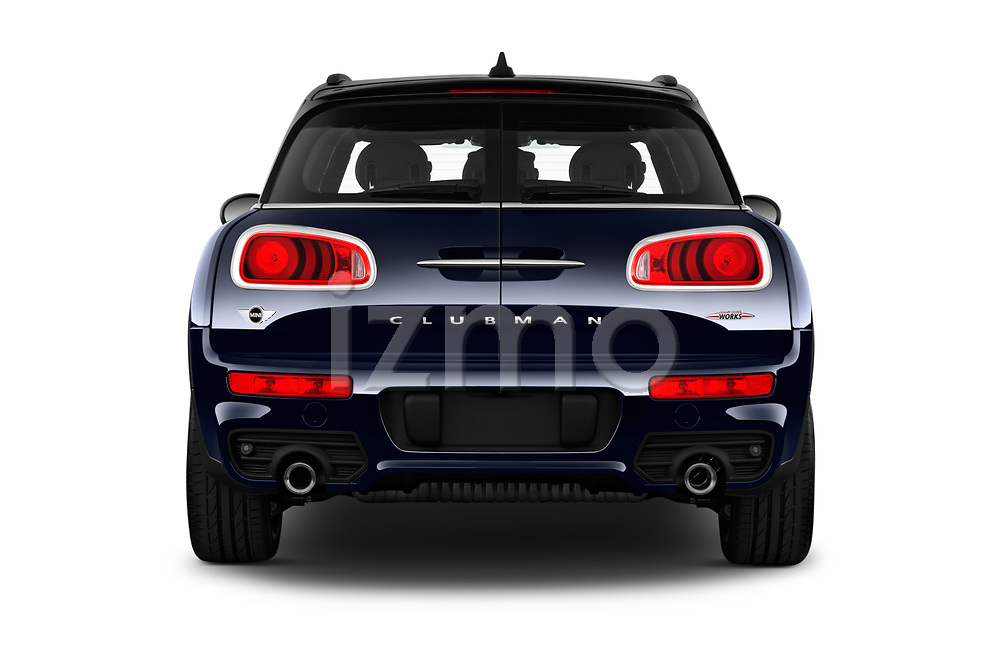 Straight rear view of a 2019 Mini Clubman John Cooper Works ALL4 5 Door Wagon stock images