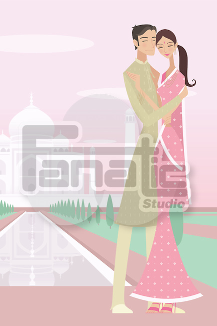 Couple romancing with a mausoleum in the background, Taj Mahal, Agra, Uttar Pradesh, India