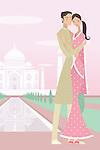 Couple romancing with a mausoleum in the background, Taj Mahal, Agra, Uttar Pradesh, India