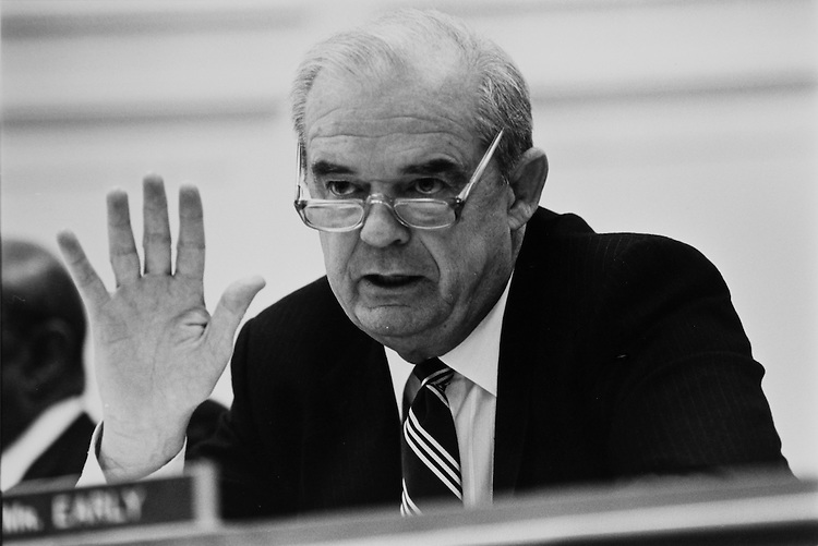 Rep. Joseph D. Early, D- Mass., at a Health and Human Services Appropriation Subcommittee hearing on March 19, 1991. (Photo by Laura Patterson/CQ Roll Call)