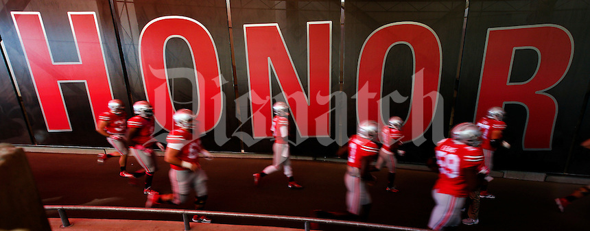 Ohio State Buckeyes come out for final warmup against Maryland Terrapins on October 10, 2015.  (Dispatch photo by Kyle Robertson)