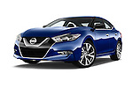 Stock pictures of low aggressive front three quarter view of 2016 Nissan Maxima S 4 Door Sedan Low Aggressive