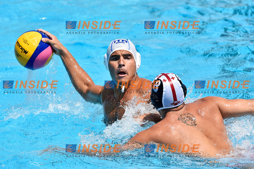 DI FULVIO Francesco Italia, BAGHATURIA Mikheil Georgia <br /> Italia - Georgia / Italy - Georgia<br /> LEN European Water Polo Championships 2014<br /> Alfred Hajos -Tamas Szechy Swimming Complex<br /> Margitsziget - Margaret Island<br /> Day04 - July 17 <br /> Photo A.Staccioli/Insidefoto/
