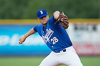 Burlington Royals relief pitcher Chase Darhower (28) in action against the Danville Braves at Burlington Athletic Park on July 12, 2015 in Burlington, North Carolina.  The Royals defeated the Braves 9-3. (Brian Westerholt/Four Seam Images)
