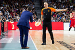 CSKA Moscow coach talking with referee Sasa Pukl  during Turkish Airlines Euroleague match between Real Madrid and CSKA Moscow at Wizink Center in Madrid, Spain. November 29, 2018. (ALTERPHOTOS/Borja B.Hojas)