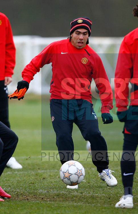 Manchester United's Carlos Tevez in training before the Champions League match against Sporting Lisbon on Tuesday night