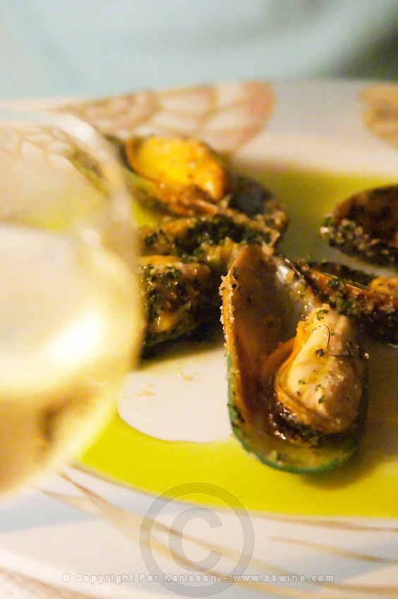 Mussels at a restaurant. Montpellier. Languedoc. France. Europe.