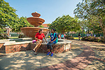 Jamie Wilson, left, and Sherelle Brown stop at the Phi Mu fountain to have a chat.  Photo by Kevin Bain/Ole Miss Communications