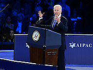 Washington, DC - March 20, 2016: U.S. Vice President Joe Biden addresses an estimated 18,000 attendees of the AIPAC Policy Conference at the Verizon Center in the District of Columbia, March 20, 2016. AIPAC is engaged in promoting and protecting the U.S.-Israel relationship to enhance security for both countries. (Photo by Don Baxter/Media Images International)