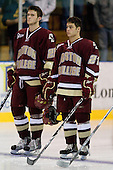 Paul Carey (BC - 22), Steven Whitney (BC - 21) - The Merrimack College Warriors defeated the Boston College Eagles 5-3 on Sunday, November 1, 2009, at Lawler Arena in North Andover, Massachusetts splitting the weekend series.