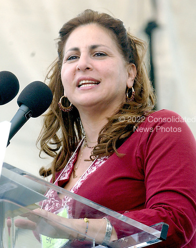 "Actress Kathy Najjimy speaks at the ""March for Women's Lives"" in Washington, DC on April 25, 2004..Credit: Ron Sachs / CNP"