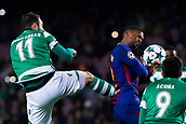 5th December 2017, Camp Nou, Barcelona, Spain; UEFA Champions League football, FC Barcelona versus Sporting Lisbon; Nelson Semedo of FC Barcelona receives the high boot foul from Bruno Cesar of Sporting Lisbon