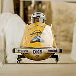 8 January 2016: Mariama Jamanka, piloting her 2-man bobsled for Germany, enters the Chicane straightaway on her second run, ending the day with a combined 2-run time of 1:55.69 and earning a 7th place finish at the BMW IBSF World Cup Championships at the Olympic Sports Track in Lake Placid, New York, USA. Mandatory Credit: Ed Wolfstein Photo *** RAW (NEF) Image File Available ***