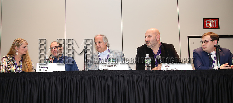 Bonnie Comley, Lonny Price, Stewart F. Lane, Gio Messale, Gio Messale and Hal Berman attends the BroadwayHD panel discussion at Broadwaycom 2018 on January 26, 2018 at Jacob Javitz Center in New York City.