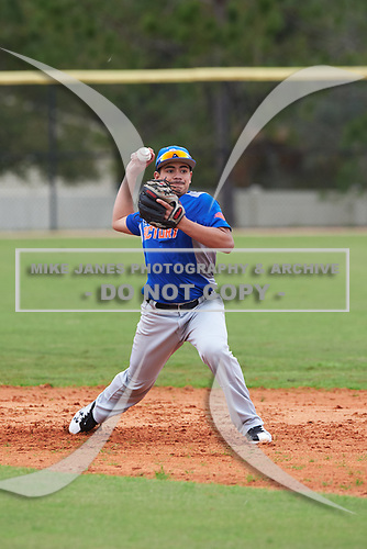 Andrew Herrera (14) of Fresno, California during the Baseball Factory All-America Pre-Season Rookie Tournament, powered by Under Armour, on January 13, 2018 at Lake Myrtle Sports Complex in Auburndale, Florida.  (Michael Johnson/Four Seam Images)
