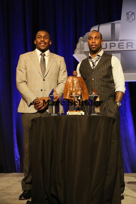 Finalisten LB Thomas Davis (Carolina Panthers) und WR Anquan Boldin (San Francisco 49ers)- Walter Payton Man of the Year Award, Super Bowl XLIX, Convention Center Phoenix