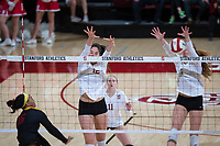STANFORD, CA - November 15, 2017: Audriana Fitzmorris, Jenna Gray, Kate Formico at Maples Pavilion. The Stanford Cardinal defeated USC 3-0 to claim the Pac-12 conference title.