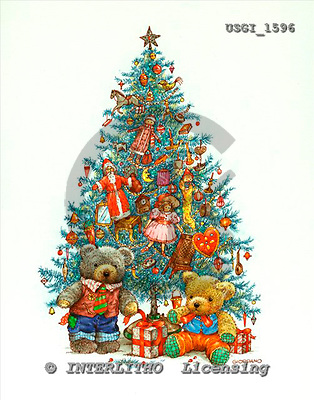 GIORDANO, CHRISTMAS ANIMALS, WEIHNACHTEN TIERE, NAVIDAD ANIMALES, Teddies, paintings+++++,USGI1596,#XA#