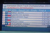 SHORTTRACK: DORDRECHT: Sportboulevard Dordrecht, 24-01-2015, ISU EK Shorttrack, Result List 1500m Men, ©foto Martin de Jong
