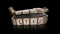 "Ancient Egyptian wooden sarcophagus - the coffin of Puia circa 1800BC - Thebes Necropolis. Egyptian Museum, Turin. Black background<br /> <br /> From about 100BC ""anthropoid "" sarcophagi with fihure shaped lids started to replace rectangular coffins. Pia was probably the son of Puyemre, a high official of Thebes and second priest of Amon under the woman pharoah, Hatshepsut (1479-1458). The sarcophagus was excavated by Robert Mond from a shaft grave found close to the tomb of Puyemre in Thebes Necropolis."