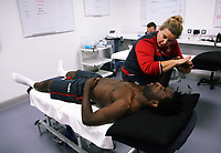 Pictured: Wilfried Bony goes through his medical with club physiotherapist Kate Rees at the Fairwood Training Ground, Wales, UK. Thursday 31 August 2017<br /> Re: Wilfried Bony has signed a contract with Swansea City FC.