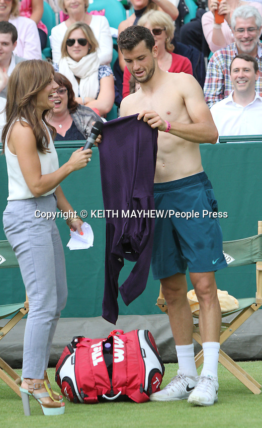Grigor Dmitrov (Bulgaria) interviewed by Zoe Hardman at The Boodles Tennis Challenge held at Stoke Park, Buckinghamshire, UK - June 21st 2013<br />