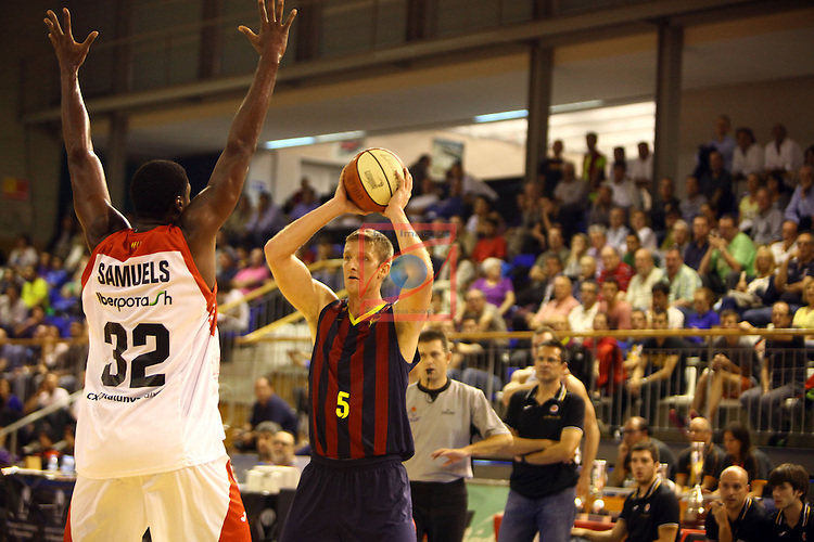Regal XXXV Llia Nacional Catalana ACB 2014-Semifinals.<br /> FC Barcelona vs La Bruixa d'Or Manresa: 82-66.<br /> Jamar Samuels vs Justin Doellman.