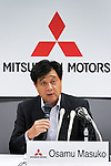 June 13th, 2011, Tokyo, Japan - President Osamu Mashiko of Japan's Mitsubishi Motors Corp. announces the automakers projection during a news conference in Tokyo on Monday, June 13, 2011. Mashiko forecast its full-year profit may rise 28 percent on higher oversea sales. The maker of the i-MiEV electric car postponed its profit forecast from April 27 as it assessed the impact of the March 11 earthquake and tsunami that devastated Japan's northeastern region. Mitsubishi slowed down production amid a shortage of parts, but the automaker said it hopes to increase sales in the current year in North America, Asia and Europe. (Photo by AFLO) [3609]