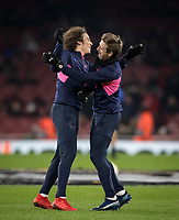 Matteo Guendouzi (left) & Nacho Monreal of Arsenal pre match during the UEFA Europa League match between Arsenal and Qarabag FK at the Emirates Stadium, London, England on 13 December 2018. Photo by Andy Rowland.