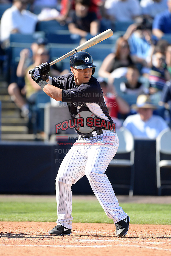 Catcher Jose Gil (80) of the New York Yankees during a spring training game against the Philadelphia Phillies on March 1, 2014 at Steinbrenner Field in Tampa, Florida.  New York defeated Philadelphia 4-0.  (Mike Janes/Four Seam Images)