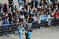 Fans gather to await the arrival of the Manchester City team coach at The Etihad <br /> <br /> Photographer Rich Linley/CameraSport<br /> <br /> UEFA Champions League - Quarter-finals 2nd Leg - Manchester City v Tottenham Hotspur - Wednesday April 17th 2019 - The Etihad - Manchester<br />  <br /> World Copyright © 2018 CameraSport. All rights reserved. 43 Linden Ave. Countesthorpe. Leicester. England. LE8 5PG - Tel: +44 (0) 116 277 4147 - admin@camerasport.com - www.camerasport.com