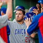 29 June 2017: Chicago Cubs catcher Victor Caratini is greeted in the dugout after scoring in the 9th inning against the Washington Nationals at Nationals Park in Washington, DC. The Cubs rallied to defeat the Nationals 5-4 and split their 4-game series. Mandatory Credit: Ed Wolfstein Photo *** RAW (NEF) Image File Available ***